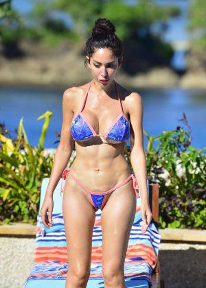 Farrah Abraham in Bikini on the pool in Beverly Hills