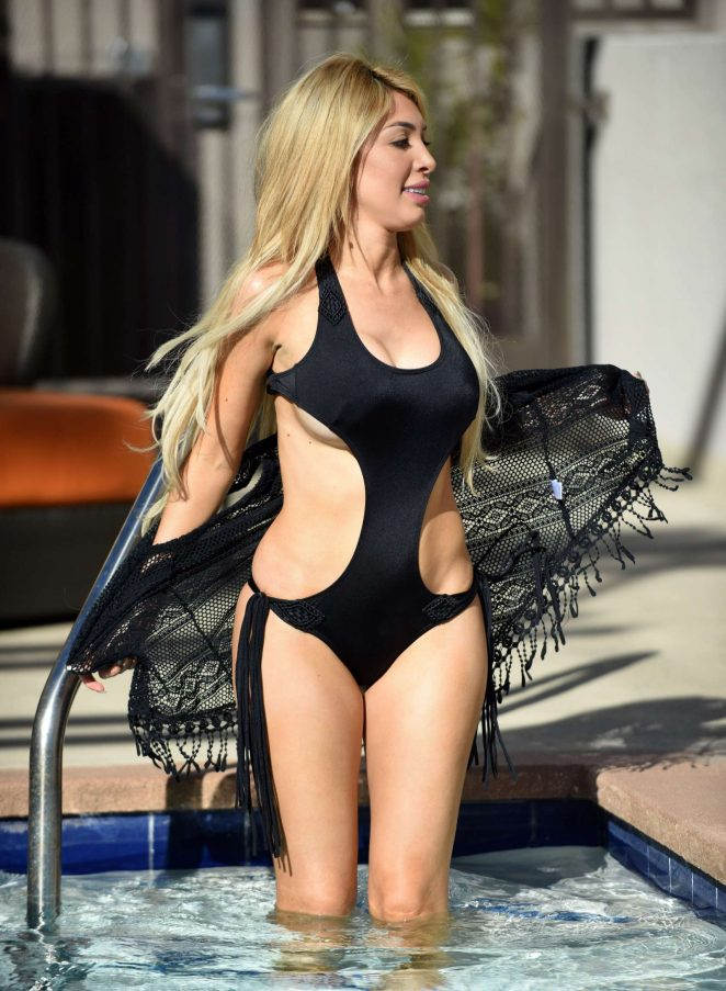 Farrah Abraham in Black Swimsuit at the pool in Los Angeles