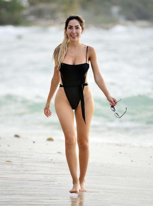 Farrah Abraham in Black Swimsuit on vacation in Puerto Vallarta