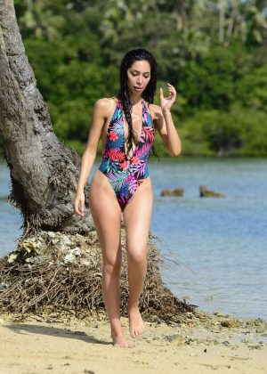 Farrah Abraham in Colourful Swimsuit on holiday in Fiji