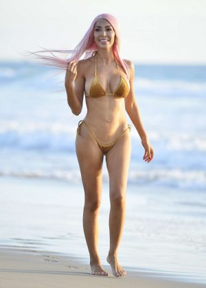 Farrah Abraham in Gold Bikini at the beach in Los Angeles