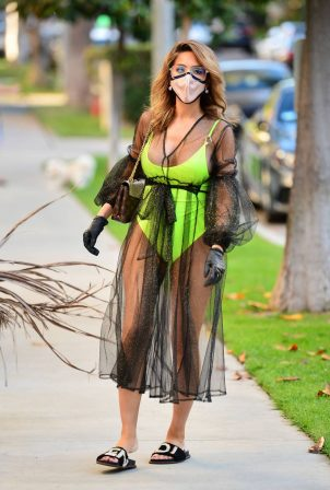 Farrah Abraham in Neon Green Swimwear in Los Angeles