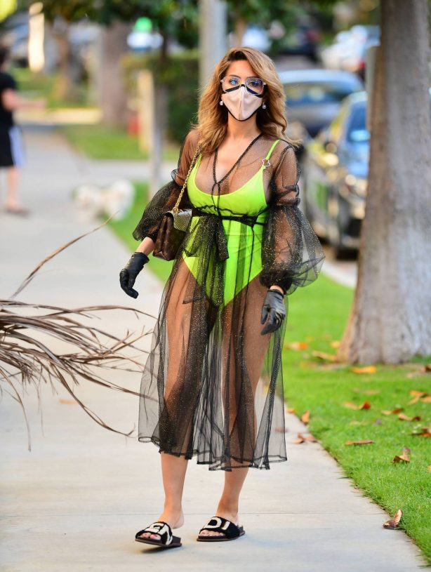 Farrah Abraham in Neon Green Swimwear in Los Angeles