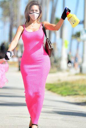Farrah Abraham in Pink Maxi Dressin - Out in Los Angeles