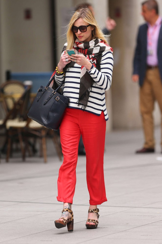Fearne Cotton in Red Pants Leaving BBC Radio 1 in London