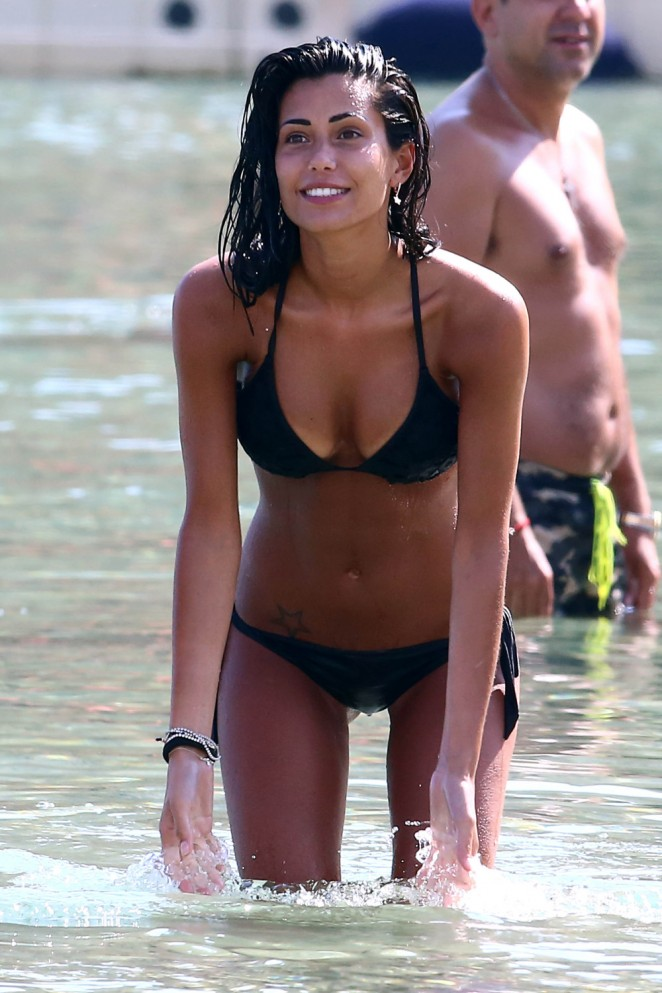 Federica Nargi in Black Bikini in Mykonos