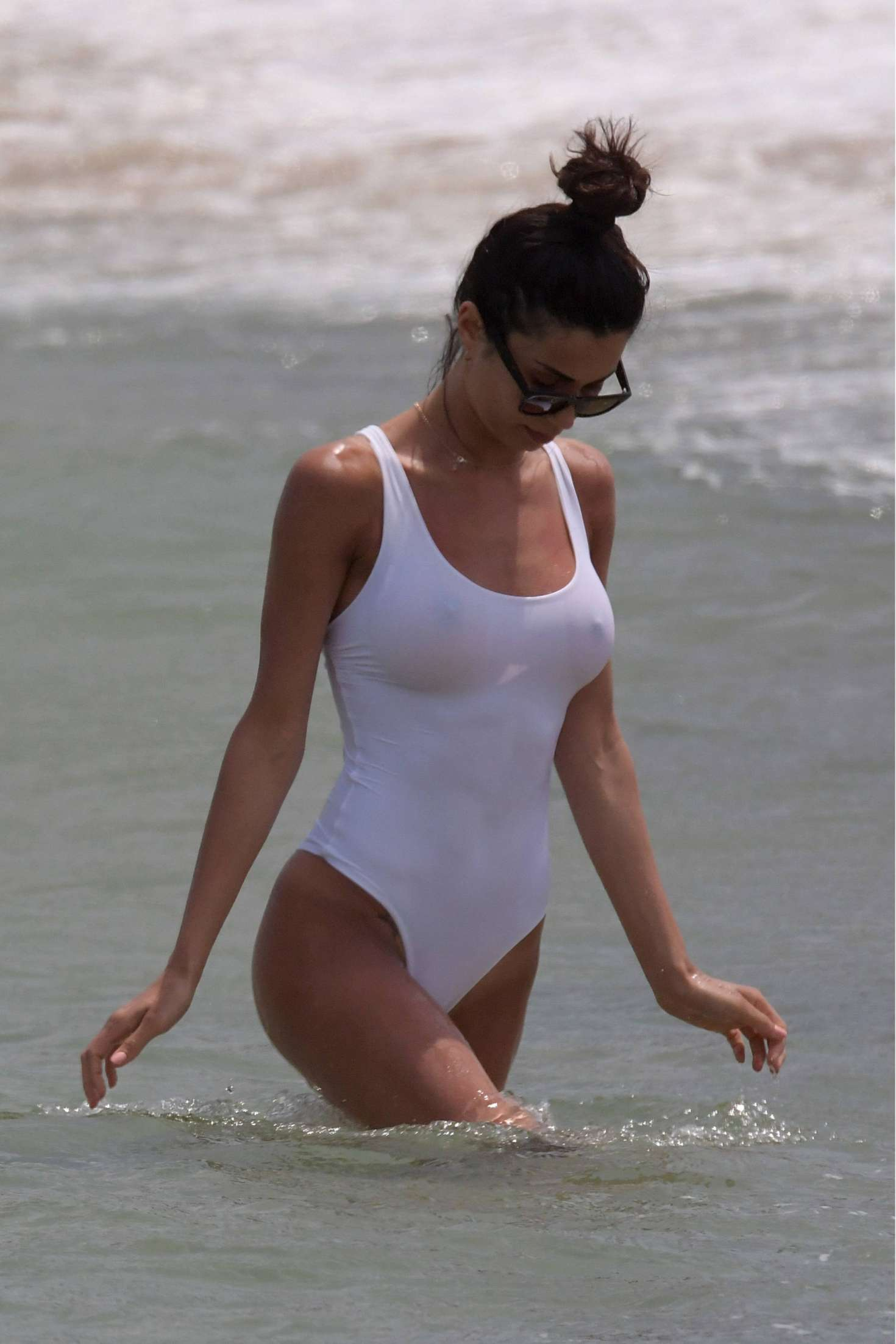 Federica Nargi in White Swimsuit on the beach in Mykonos