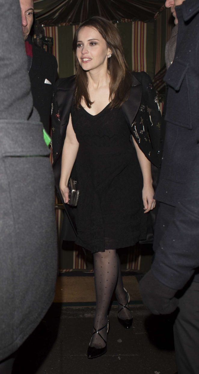 Felicity Jones - Arrives at Chanel BAFTA Party in London