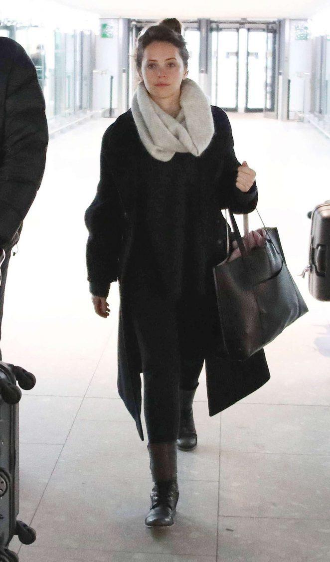 Felicity Jones arriving at Heathrow airport in London