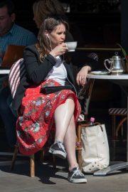 Felicity Jones at Harry's Dolce Vita Cafe in London