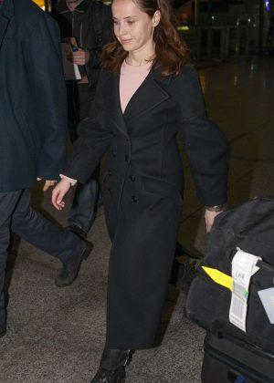 Felicity Jones at Heathrow Airport in London