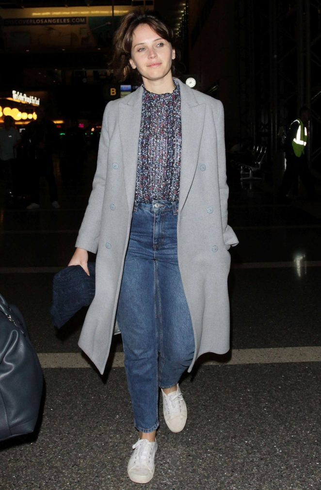 Felicity Jones at Los Angeles International Airport