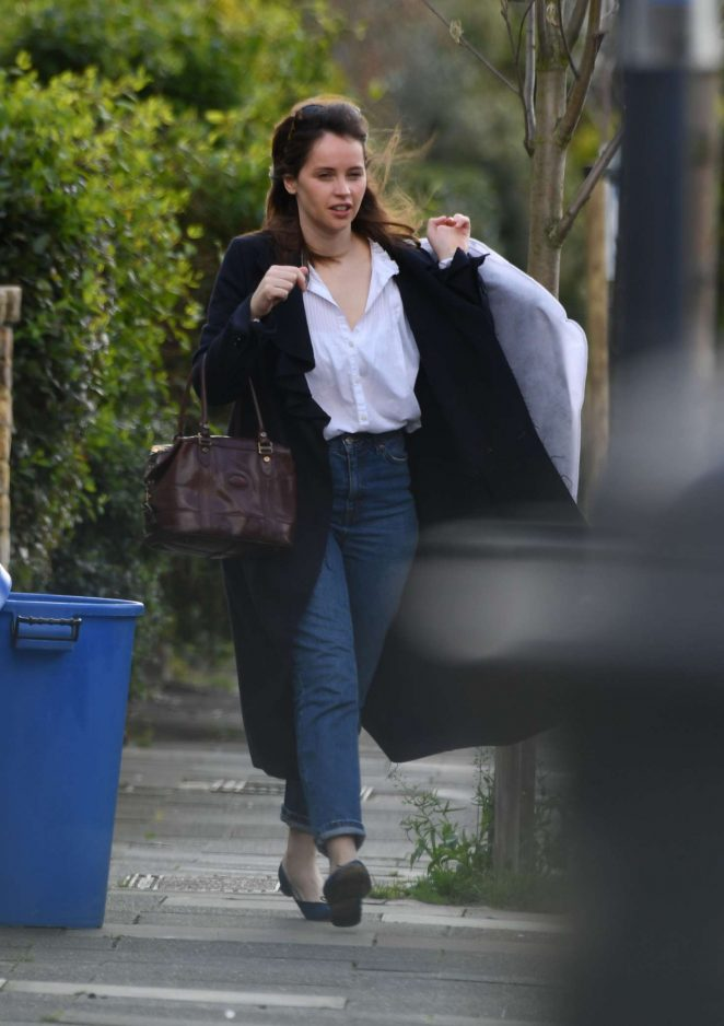 Felicity Jones going for a photoshoot in London