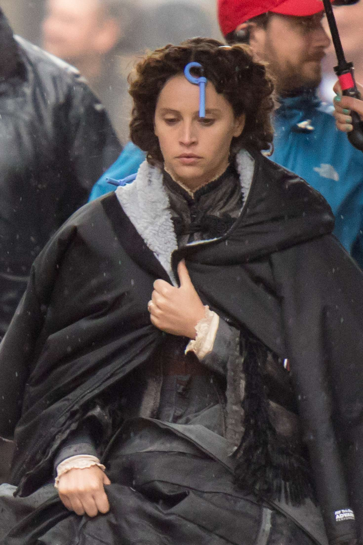 Felicity Jones - On set of 'Aeronauts' in Waterloo