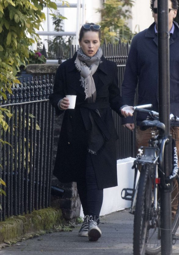 Felicity Jones - Out for a morning walk in London