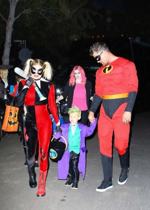 Fergie and family dressed up for Halloween in Brentwood