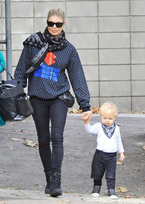 Fergie in Jenas at the park with her son in Los Angeles