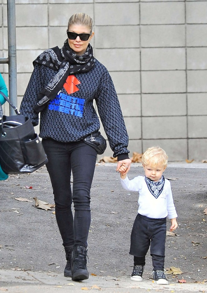 Fergie at the park with her son in Los Angeles