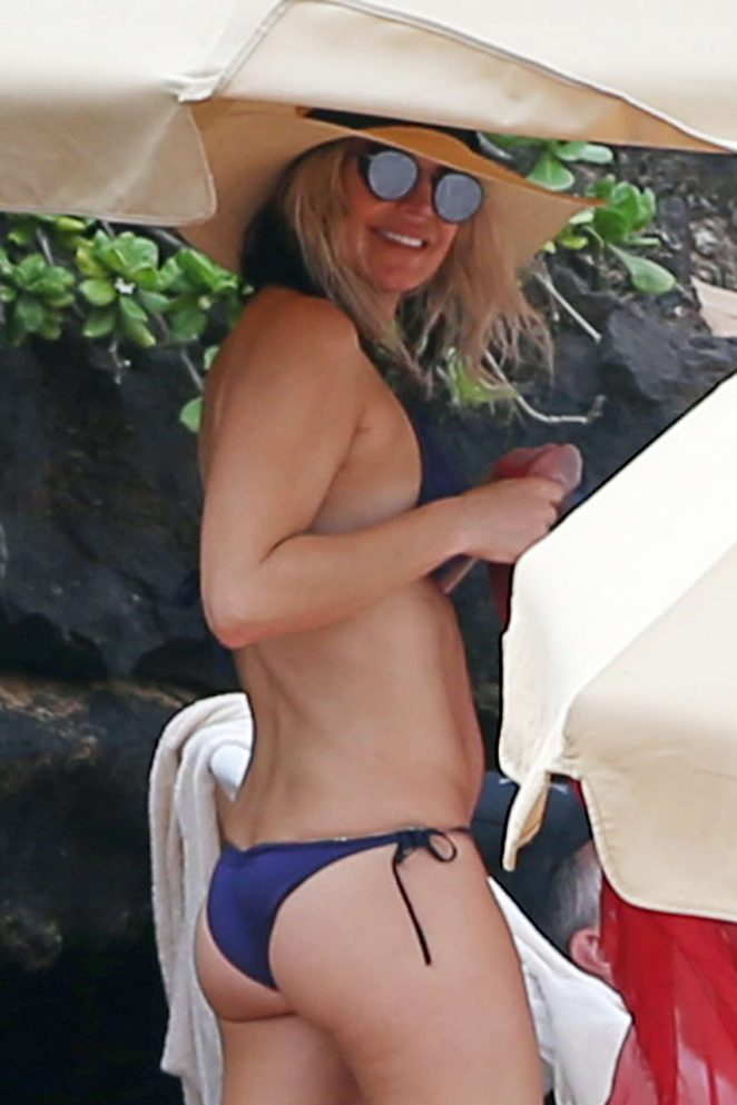 Fergie in Blue Bikini on Vacation in Hawaii