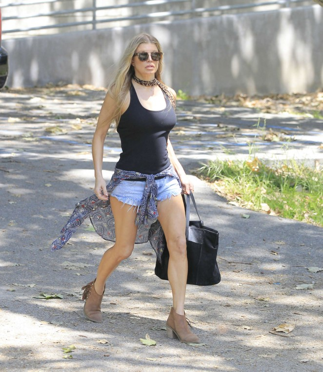 Fergie in Jeans Shorts at the park in Los Angeles