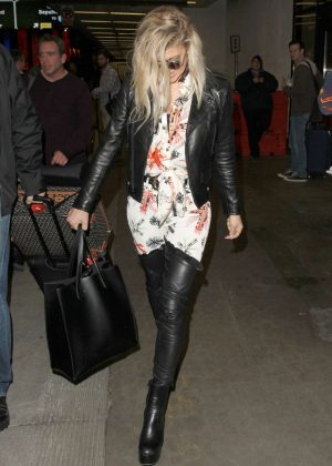 Fergie in Leather at LAX Airport in LA