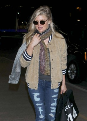 Fergie in Ripped Jeans at LAX Airport in LA