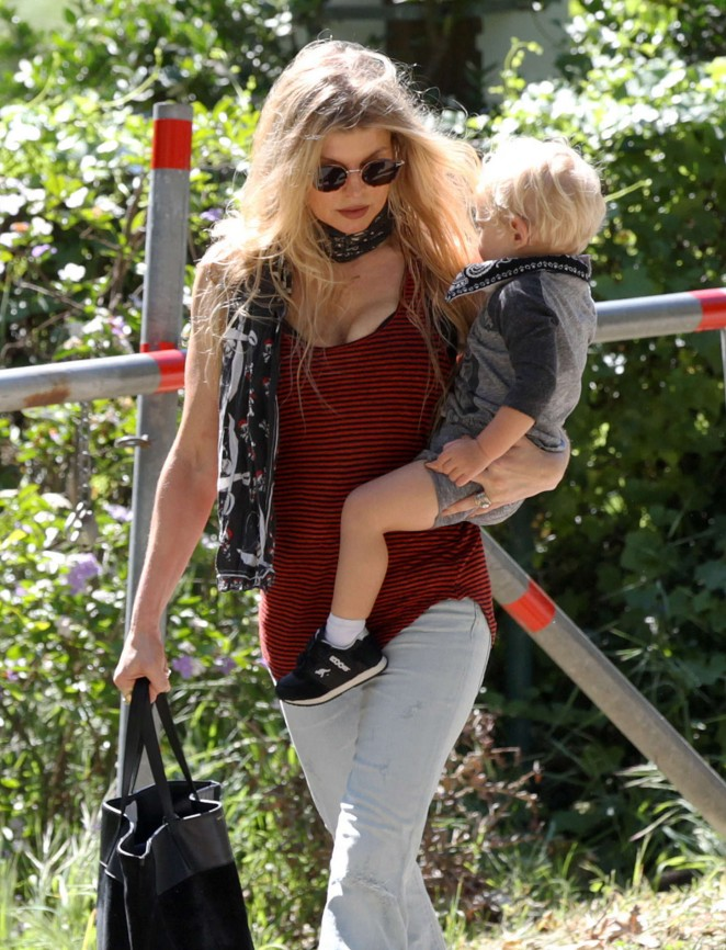 Fergie - Out with her son in Brentwood