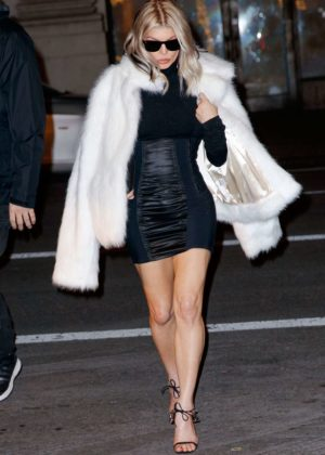 Fergie - Wearing a furry jacket out in New York