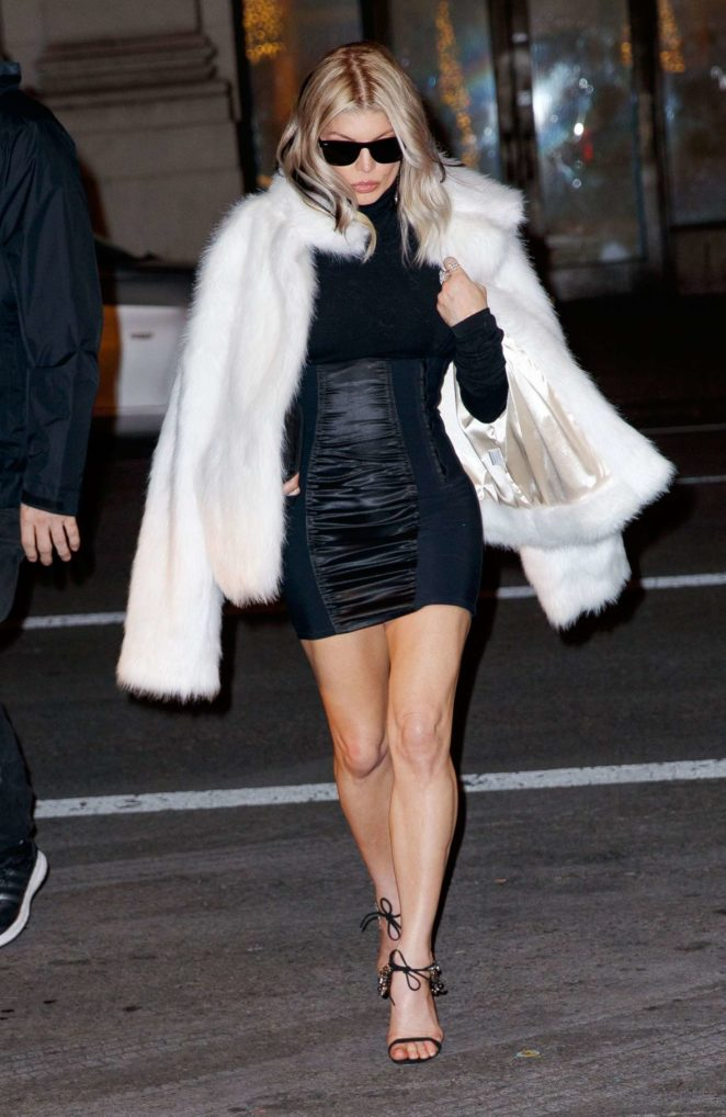 Fergie – Wearing a furry jacket out in New York