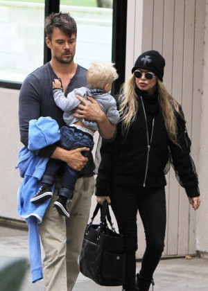 Fergie With Her Family Leaving a park in Brentwood