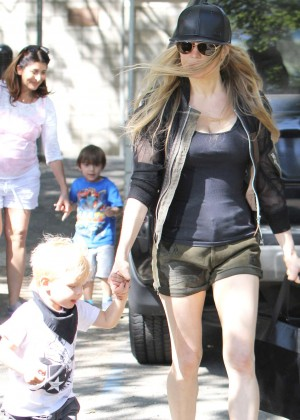 Fergie with her son in the Park in Brentwood
