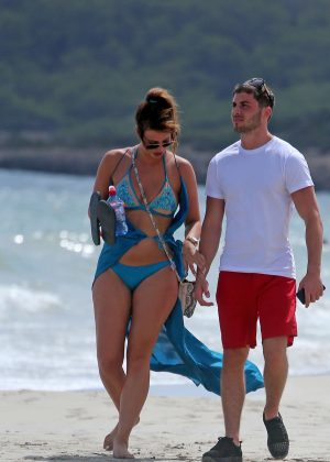 Ferne Mccan in Blue Bikini at a Beach in Ibiza
