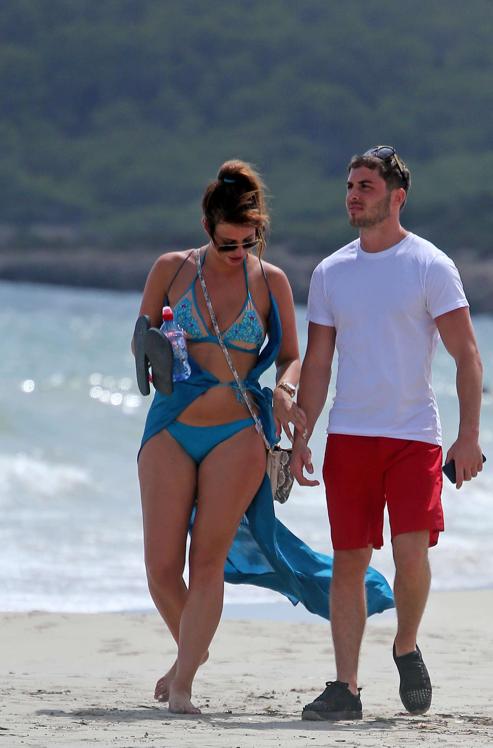 Ferne Mccan in Blue Bikini at a Beach in Ibiza