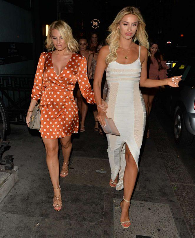 Ferne McCann and Danielle Armstrong - Leaving Bagatelle Restaurant in Mayfair