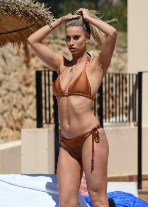 Ferne McCann in a Bikini on the pool in Marbella