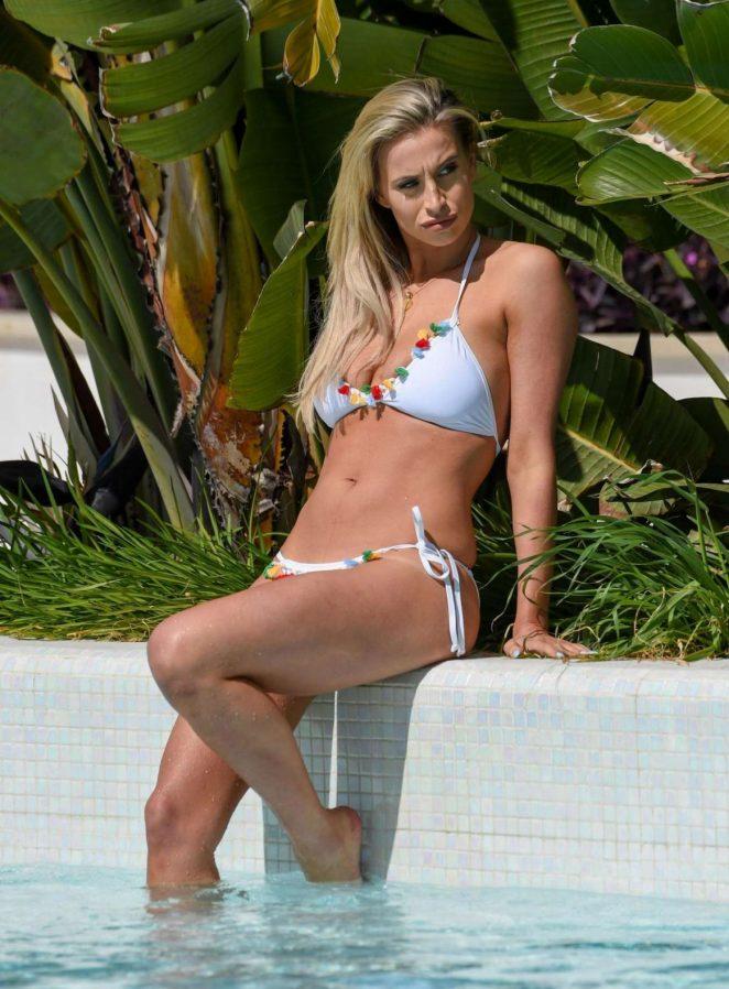 Ferne Mccann in Bikini at a Pool in Majorca