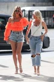 Ferne McCann in Denim Shorts with Danielle Armstrong out in London