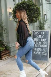 Ferne McCann in Ripped Denim - Arriving for business meeting in Soho