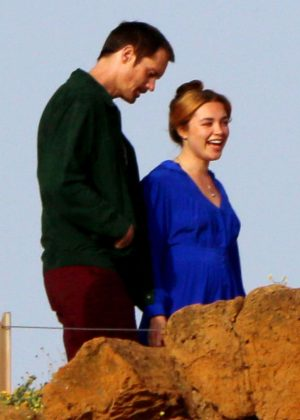 Florence Pugh and Alexander Skarsgardat - On 'The Little Drummer Girl' set in Sounio