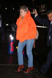 Florence Pugh in Fur Orange Coat - Out in New York City