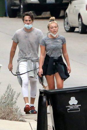 Florence Pugh with her boyfriend Zach Braff around their neighborhood in Los Angeles