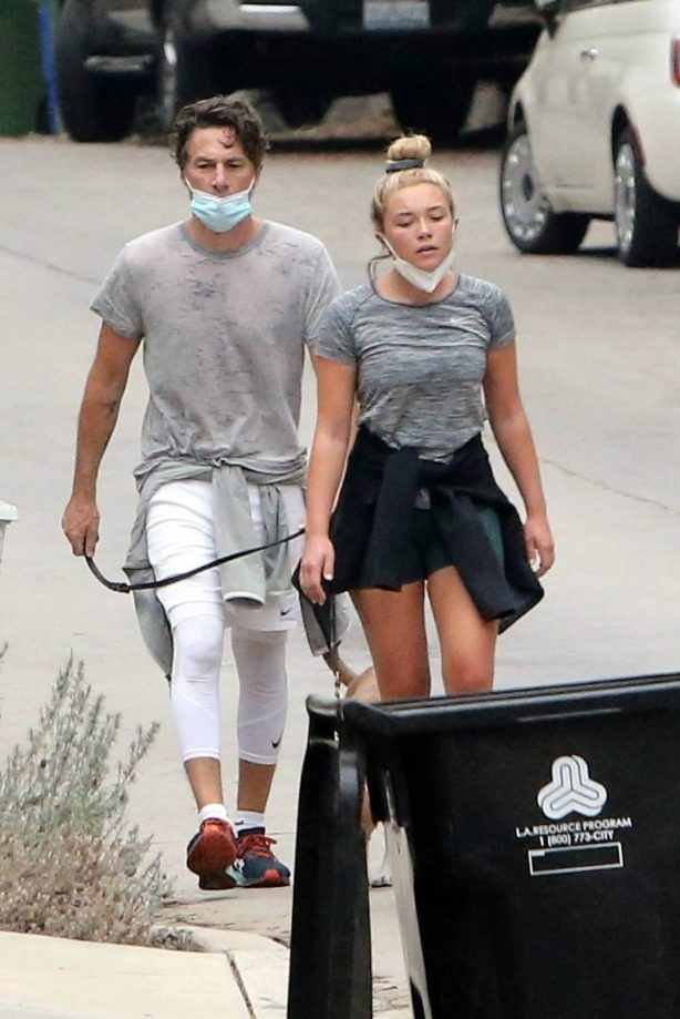 Florence Pugh with her boyfriend Zach Braff around their neighborhood in Los Angeles