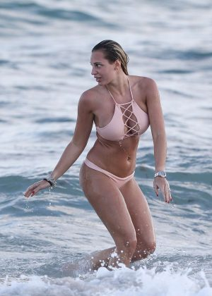 Francesca Brambilla in Pink Bikini at the beach in Miami
