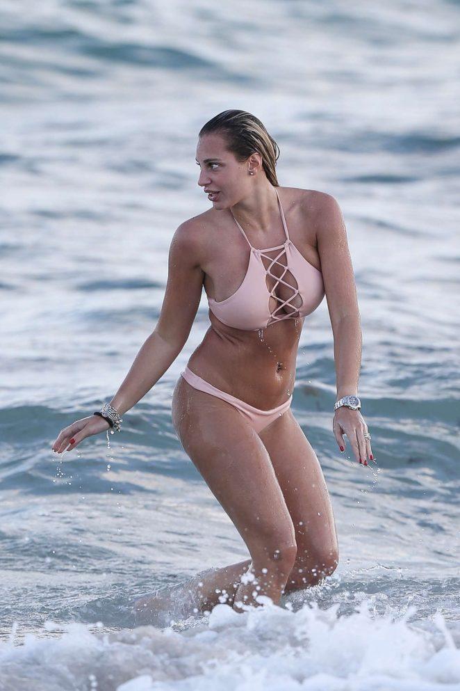 Francesca Brambilla in Pink Bikini at the beach in Miami