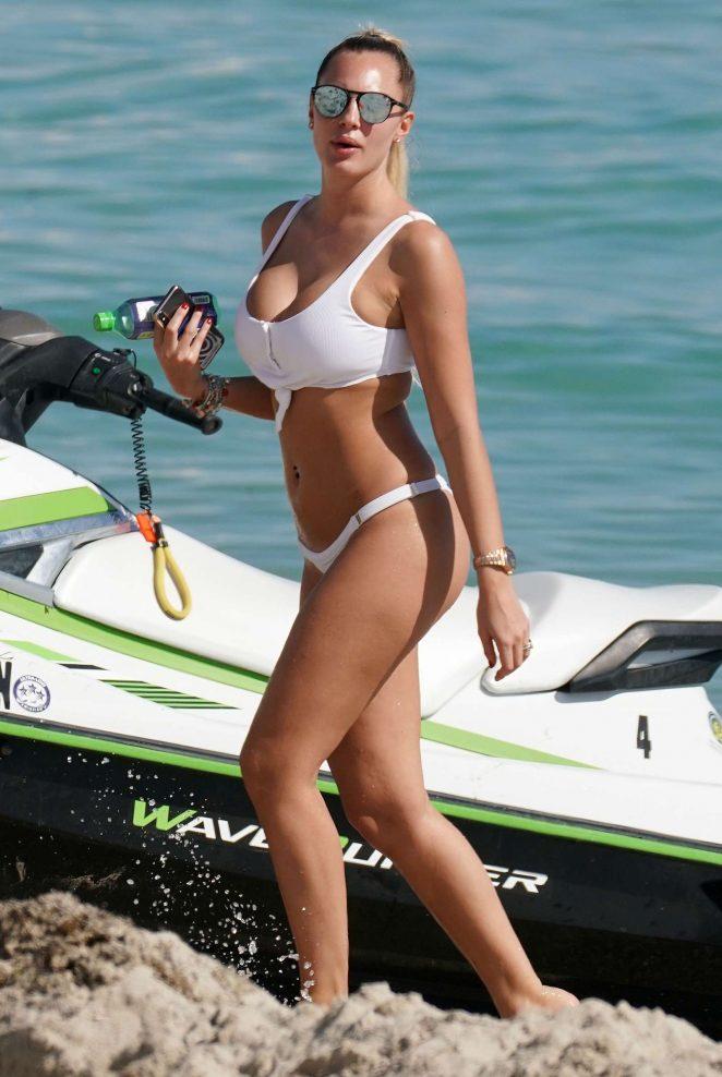 Francesca Brambilla in White Bikini on Miami Beach