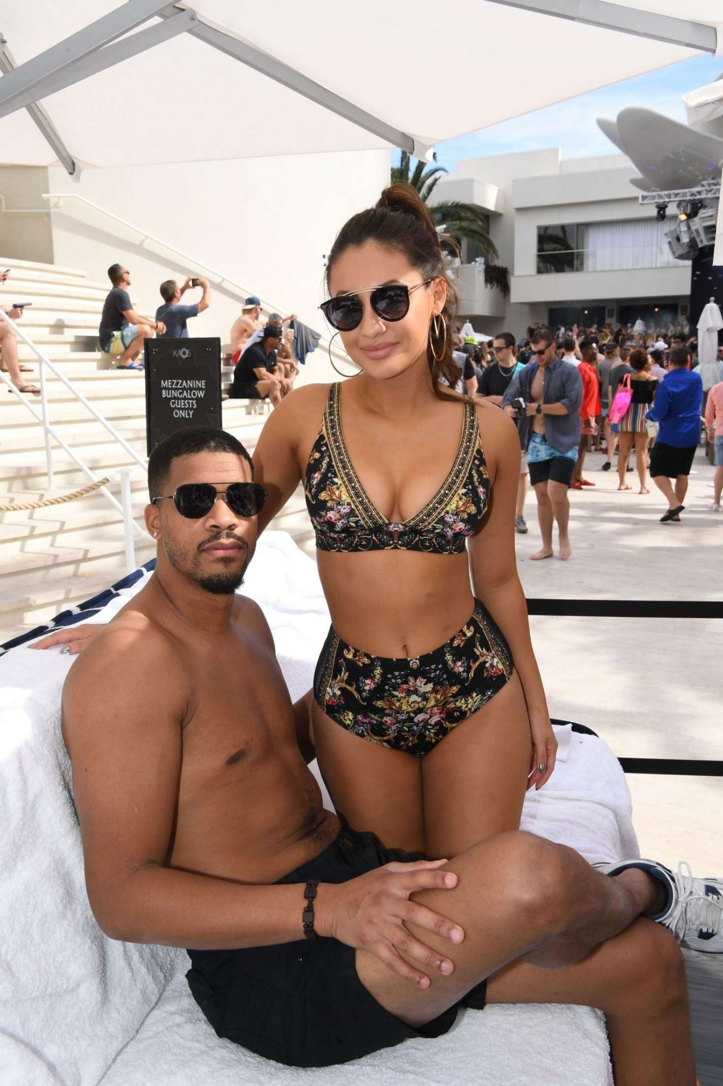 Francia Raisa in Bikini and Christian Adkins - Palms Casino Resort's KAOS Dayclub in Las Vegas