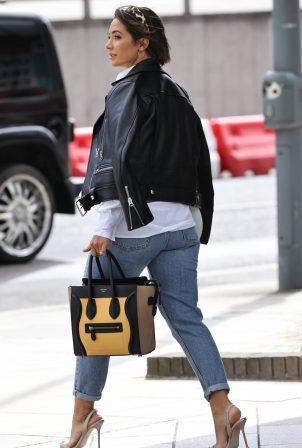 Frankie Bridge arriving at TV studios in London