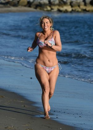 Frankie Essex in Bikini - Jogging at a beach in Tenerife