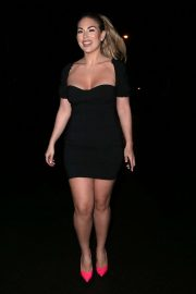 Frankie Essex in Black Mini Dress - Night out in London