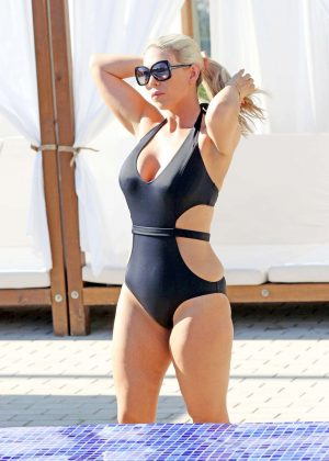 Frankie Essex in Black Swimsuit in Ibiza